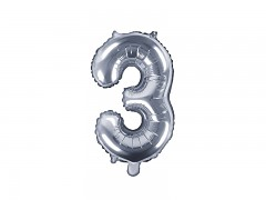 Fóliová číslice 3 stříbrná