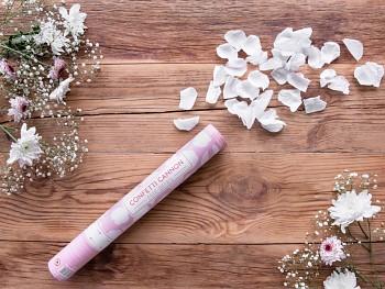 Vystřelovací konfety bílé plátky růží 40 cm