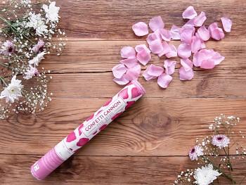Vystřelovací konfety růžové plátky růží 40 cm
