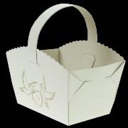 Košíček na svatební koláčky s hrdličkami a srdíčkem