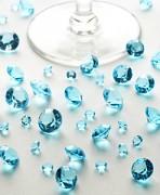 Diamanty světle tyrkysové mix velikostí
