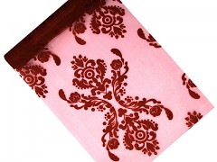 Organza 36 cm x 9 m burgundy s ornamentem