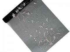 Organza 36 cm x 9 m černá s ornamentem