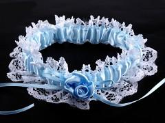 Svatební podvazek modrobílý č.24