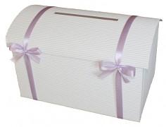 Svatební pokladnička bílá velká s mašličkami - více barev