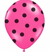 Balónek sytě růžový s černými puntíky