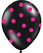 Balónek černý s fuchsiovými puntíky