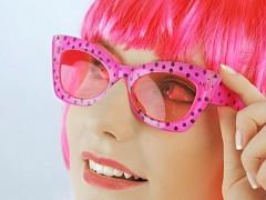 Párty brýle fuchsiové s puntíky
