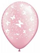 Balónek metalický růžový s bílými motýlky