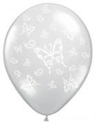 Balónek průhledný s bílými motýlky