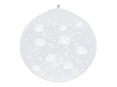 Balón průhledný s bílými růžičkami ø 1 m