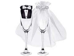 Svatební přízdoba na skleničky