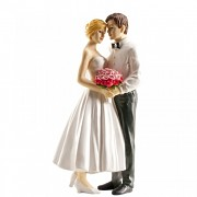 Nevěsta a ženich s růžovou kyticí - svatební figurky