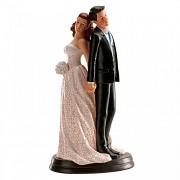 Nevěsta a ženich zády k sobě - svatební figurky