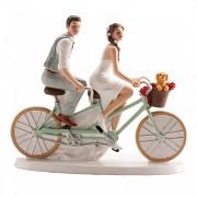 Nevěsta a ženich na dvoukole - svatební figurky