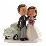 Nevěsta a ženich s autíčkem - svatební figurky