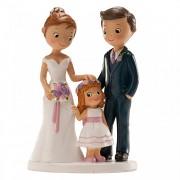 Nevěsta a ženich s holčičkou - svatební figurky