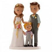 Nevěsta a ženich s chlapečkem - svatební figurky