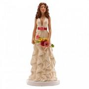 Nevěsta brunetka s kyticí - svatební figurka