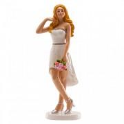 Nevěsta blondýnka s kyticí - svatební figurka