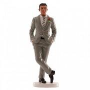 Ženich v šedém saku - svatební figurka