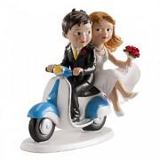 Nevěsta a ženich na skůtru - svatební figurky