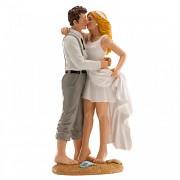 Nevěsta a ženich na pláži - svatební figurky
