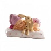 Dětská figurka spinkající holčička s králíčkem