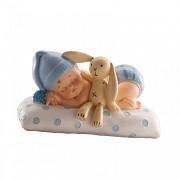 Dětská figurka  spinkající chlapeček s králíčkem