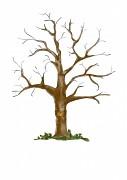 Svatební strom watercolor hnědý se srdcem A3