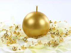 Svíčka koule zlatá perleťová ø 60 mm