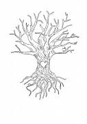 Svatební strom černobílý s kořeny a srdcem A4