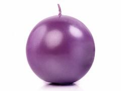 Svíčka koule purpurově fialová perleťová ø 80 mm