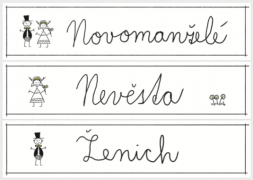 Set 6 ks cedulek SPZ kreslení novomanželé + pěnová oboustranná páska