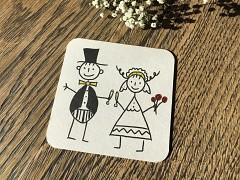 Nápojový tácek Nevěsta a ženich při přípitku