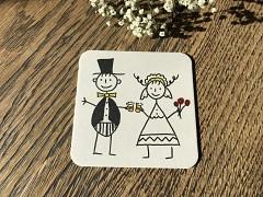 Nápojový tácek Nevěsta a ženich při přípitku pivem
