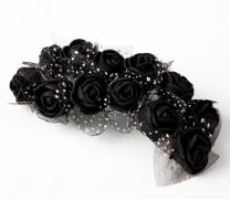 Pěnové růžičky na drátku černé 12 ks