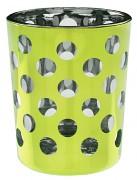 Svícen světle zelený s puntíky skleněný