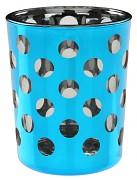 Svícen tyrkysově modrý s puntíky skleněný
