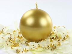 Svíčka koule zlatá perleťová ø 80 mm