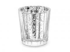 Svícen skleněný stříbrný