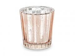 Svícen skleněný růžovozlatý