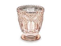 Svícen zdobený skleněný růžovozlatý