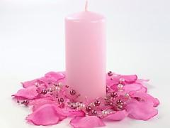 Svíčka válec světle růžová 60 mm x 120 mm