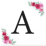 Písmeno A kartička s růžemi