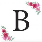 Písmeno B kartička s růžemi