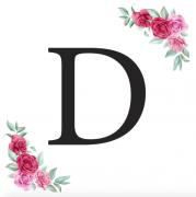 Písmeno D kartička s růžemi