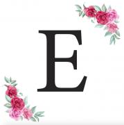 Písmeno E kartička s růžemi