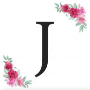 Písmeno J kartička s růžemi