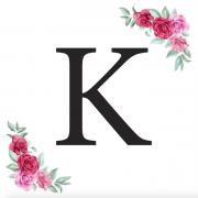 Písmeno K kartička s růžemi
